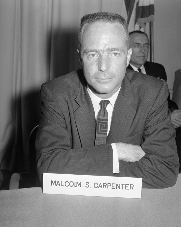 . Navy Lt. Malcolm Scott Carpenter, 33, Garden Grove, California, as they appeared at National Aeronautics and Space Administration headquarters in Washington on April 9, 1959. He is one of the officer among the seven picked by the government as the Americans best equipped to attempt space flight. (AP Photo)