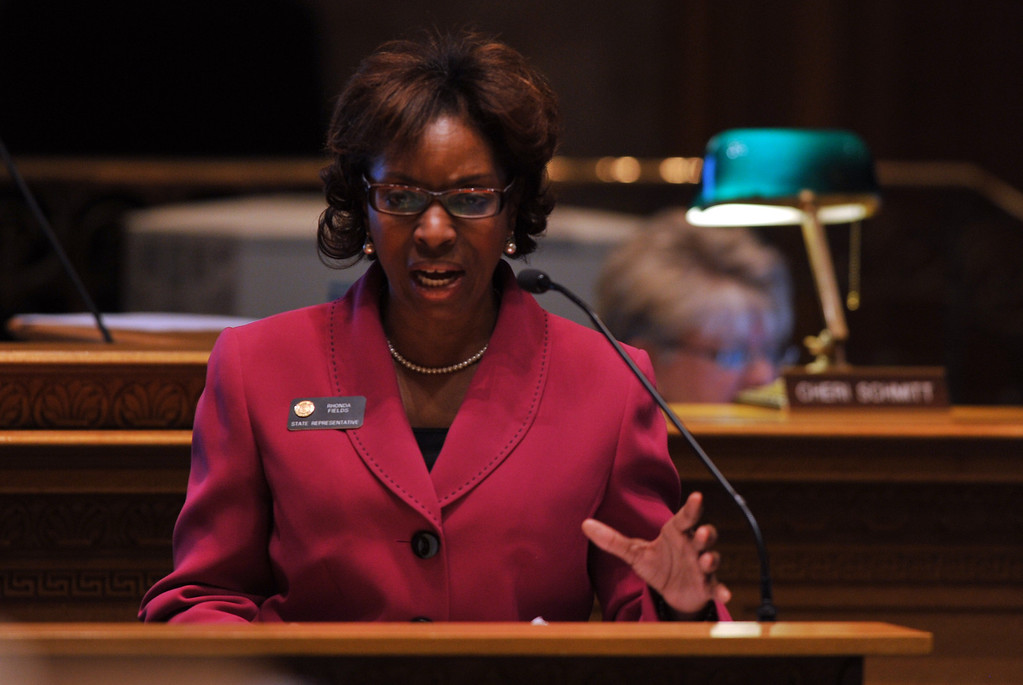 . DENVER, CO. - FEBRUARY 15: Rhonda Fields, D-Aurora, is in the debate for gun control bills at House of Representatives chambers in Colorado State Building February 15, 2013. Denver, Colorado. Members of the Colorado House debate four gun-control bills in the House chamber. (Photo By Hyoung Chang/The Denver Post)