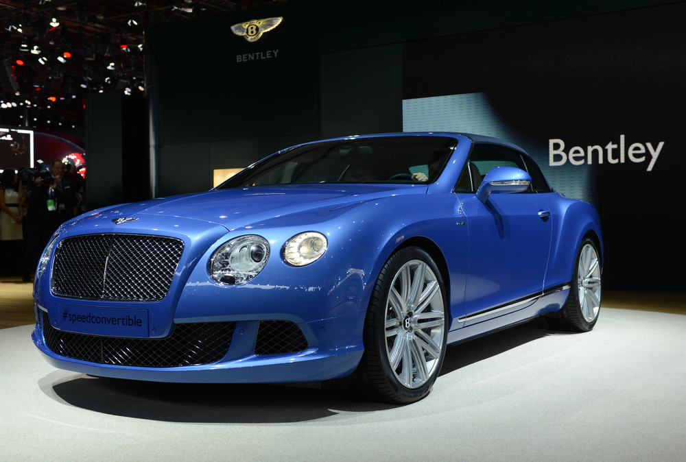 . The Bentley Continental GT Speed Convertible is introduced at the 2013 North American International Auto Show in Detroit, Michigan, on January 14, 2013. AFP PHOTO/Stan HONDASTAN HONDA/AFP/Getty Images