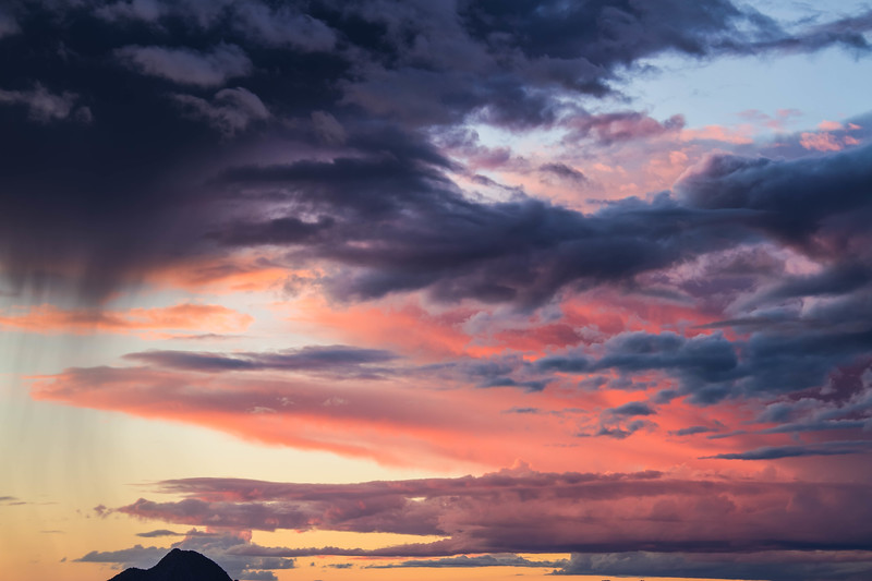 Colorful clouds with a Distant Mountain