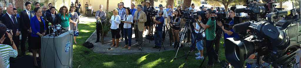 . Assembly member Cristina Garcia (D-Bell Gardens) speaks during a press conference with concerned regional elected officials calling for Senator Ron Calderon to resign his position in the California State Senate in front of the Bell Gardens City Hall in Bell Gardens , Calif., on Wednesday, Nov. 13, 2013.  (iPhone Panorama Image) (Keith Birmingham Pasadena Star-News)