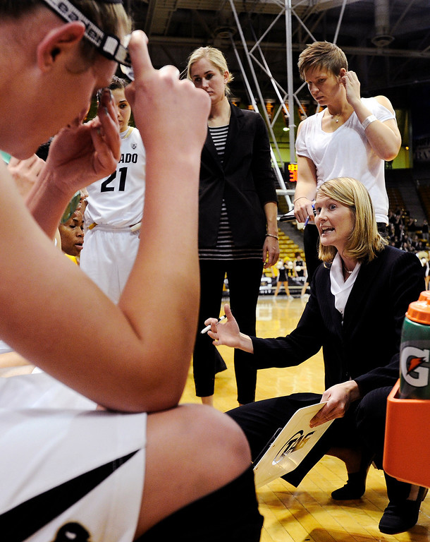 . Colorado head coach Linda Lappe, right, talks with her team during a timeout against Wyoming during their NCAA college basketball game, Wednesday, Nov. 28, 2012, in Boulder, Colo. (AP Photo/The Daily Camera, Jeremy Papasso)