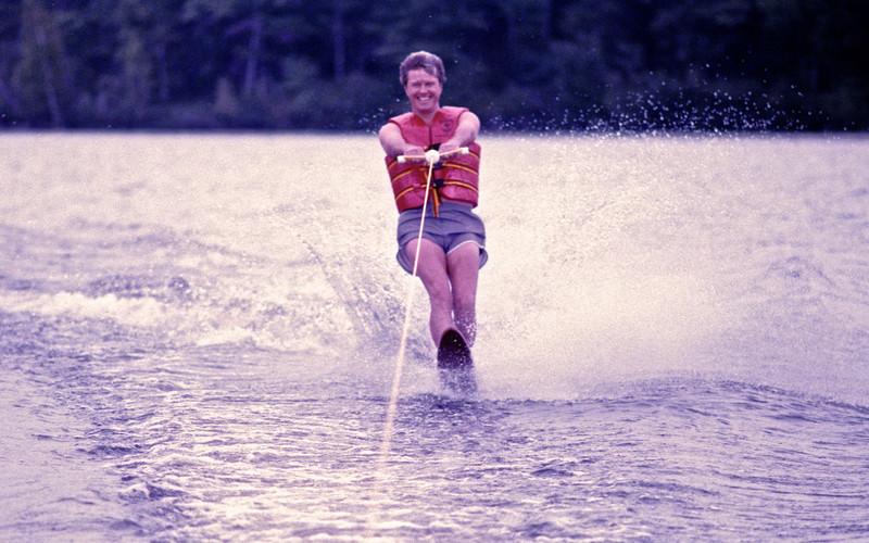 Jay skiing on one ski!