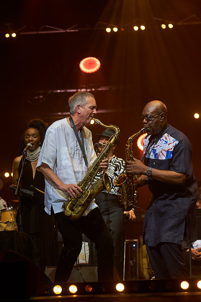 Manu Dibango in Grand Rex hall, Paris celebrating his 60 years of career. Concert given with Manu Dibango band together with the symphonic Lamoureux orchestra directed by  Martin Fondse. With  Jonathan Handelsman