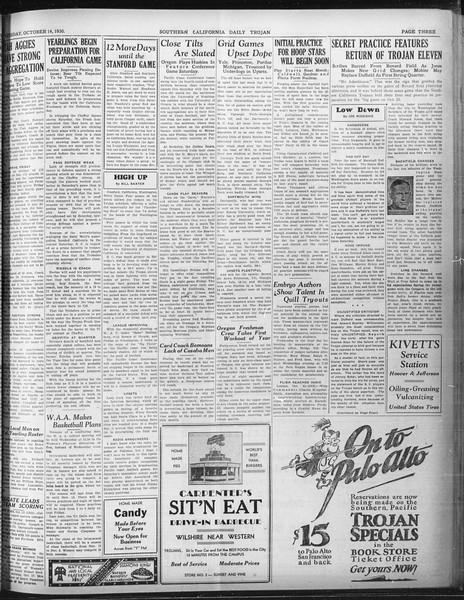 Daily Trojan, Vol. 22, No. 23, October 14, 1930