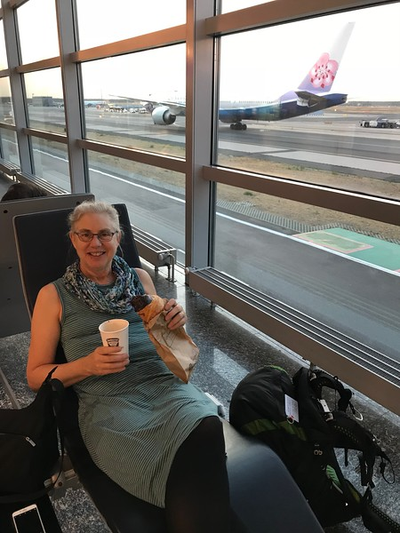 Coffee & croissant while waiting for our flight from Frankfurt to Milan