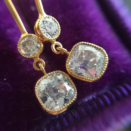 1.10ctw Cushion and Old European Cut Diamond Dangle Earrings