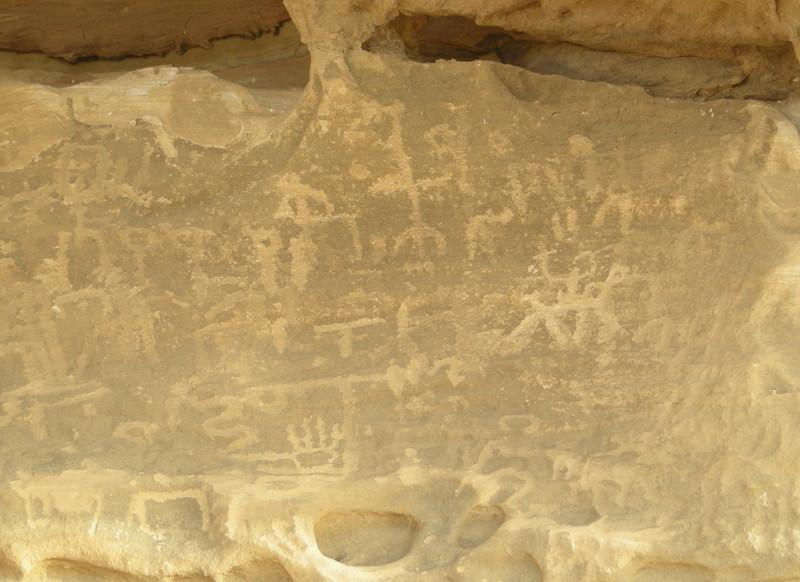 Nabatean petroglyphs in Wadi Rum