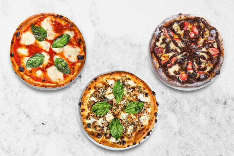 """3 Pizzas"" Margherita, Truffle & Nutella Pizza, Client - BELLINI NYC, Upper West Side, New York"