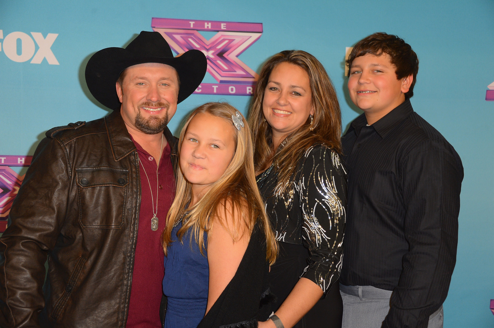 ". Winner Tate Stevens with his family wife Ashlie Stevens and children at Fox\'s ""The X Factor\"" Season Finale - Night 2 at CBS Televison City on December 20, 2012 in Los Angeles, California.  (Photo by Frazer Harrison/Getty Images)"