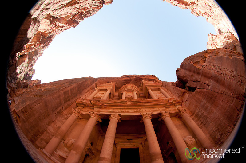 Fisheye View of the Treasury at Petra - Jordan