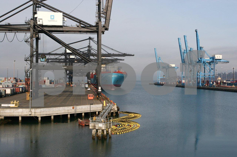 Containeir ships at the Port of Tacoma, Washington State.