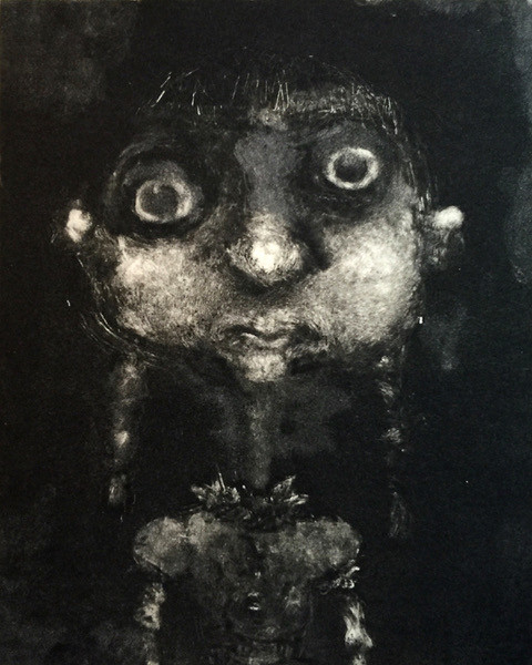 Little Rosie, monoprint, SOLD but ghost print available