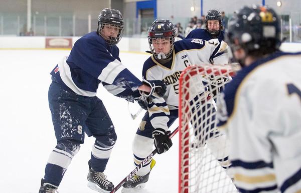01/27/20 Wesley Bunnell | StaffrrNewington-Berlin hockey vs SLTN at Newington Arena on Monday afternoon. Kilian Ranger (5).