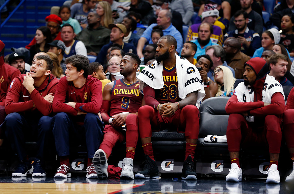 . Cleveland Cavaliers forward LeBron James (23) watches from the bench in the second half of an NBA basketball game against the New Orleans Pelicans in New Orleans, Saturday, Oct. 28, 2017. The Pelicans won 123-101. (AP Photo/Gerald Herbert)
