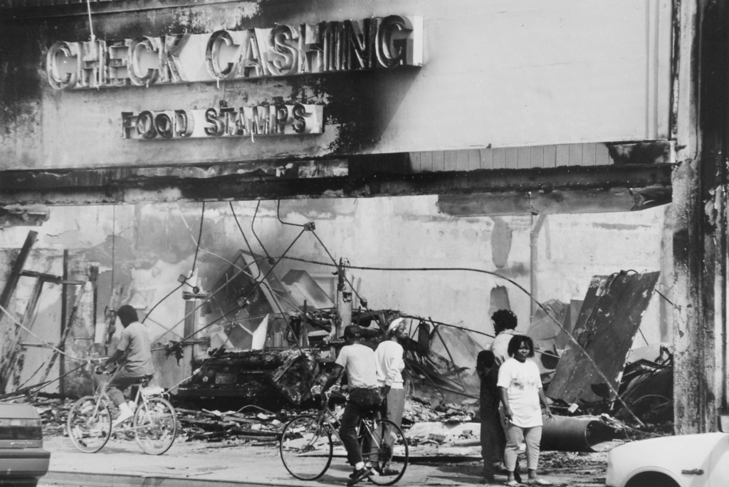 . A burned out business during the 1992 Los Angeles Riots.  (Daily Breeze file photo)