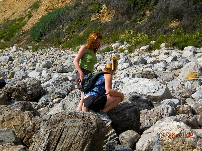 Girls exploring the rocks.