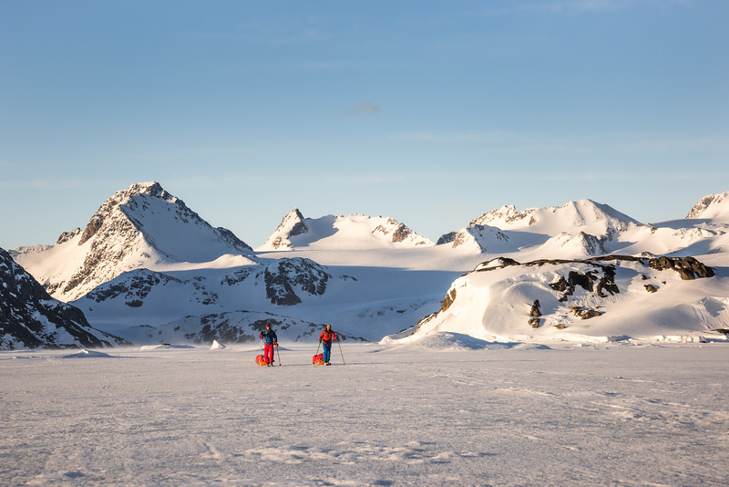 Stuart and Misha returning to Kulusuk at sunset, East Greenland