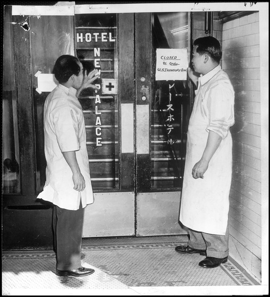"""""""Uncle Sam is taking no chances upon leaving open possible meeting places for alien, or even Americanized Japs as a menace to national defense.  Hotels, cafes aand other public spots are sealed under Treasury orders"""" -- caption on photograph"""