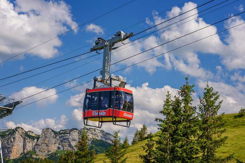 Wasserauen - Ebenalp cable railway car in the Swiss Alps in Switzerland