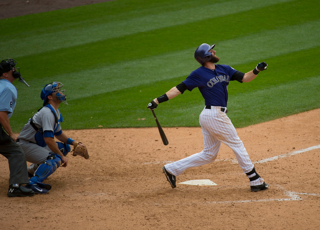 . Colorado Rockies center fielder Charlie Blackmon (19) flies out for the second out against the Los Angeles Dodgers in the ninth inning July 6, 2014 at Coors Field. (Photo by John Leyba/The Denver Post)