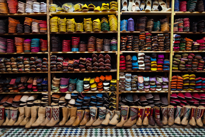 Various leather products are sold in the many leather shops that surround the Chouara tannery in the Medina in Fes, Morocco.