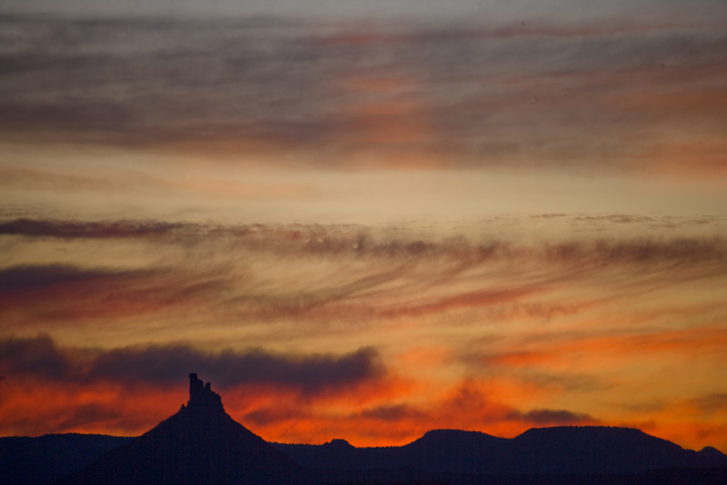 Six Shooter Peak and crepuscular rays at sunrise.