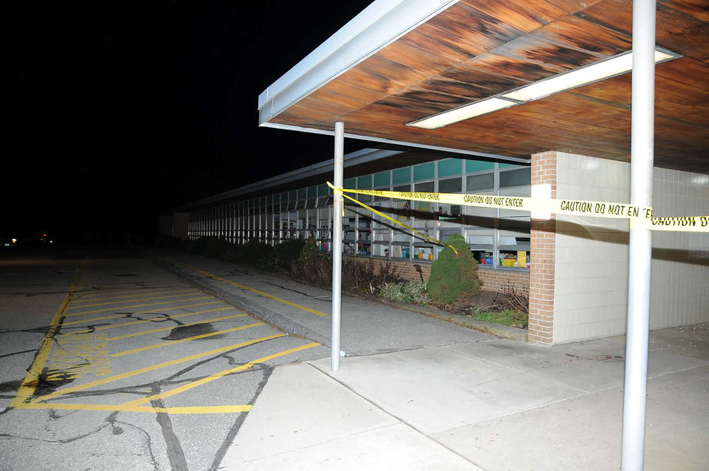 . In this handout crime scene evidence photo provided by the Connecticut State Police, shows the exterior of the Sandy Hook Elementary School following the December 14, 2012 shooting rampage, taken on an unspecified date in Newtown, Connecticut.  (Photo by Connecticut State Police via Getty Images)