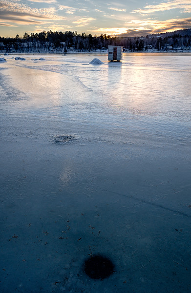 Frozen Sunset, Wilson Lake, Wilton, Maine (78068-78070)