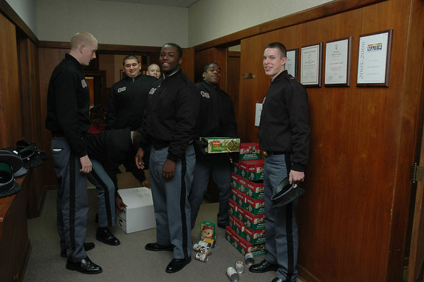 Upper School Cadets load food donations for local food bank
