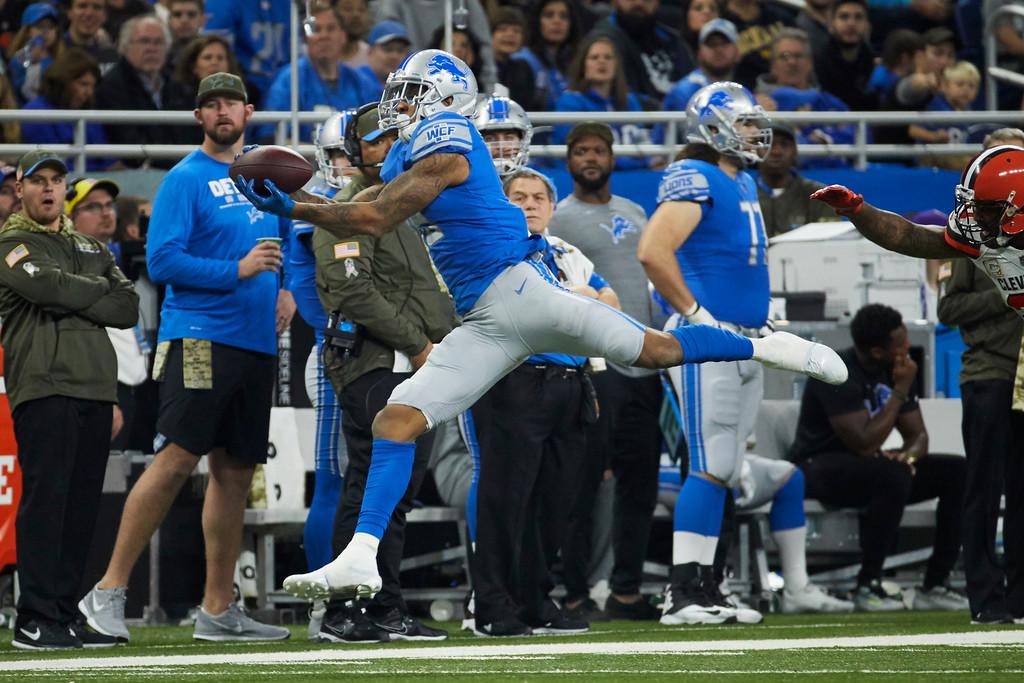 . an NFL football game, Sunday, Nov. 12, 2017, in Detroit. (AP Photo/Rick Osentoski)