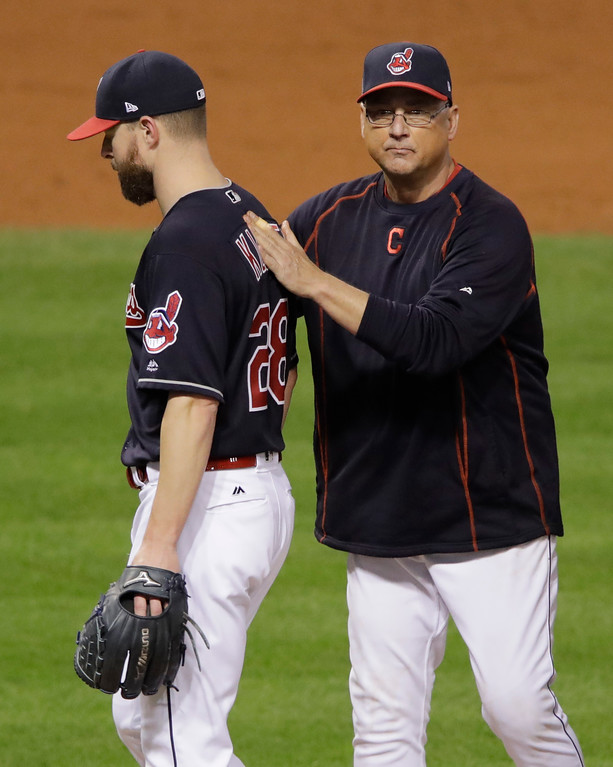 . Cleveland Indians manager Terry Francona takes starting pitcher Corey Kluber out of the game during the fifth inning of Game 7 of the Major League Baseball World Series against the Chicago Cubs Wednesday, Nov. 2, 2016, in Cleveland. (AP Photo/Gene J. Puskar)