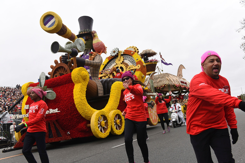 ". The Trader Joe\'s float winning entry, the Tournament Special Trophy for exceptional merit: Trader Joe\'s, ""All Aboard! 50 years Of Serving The Best ...\'\' rolls along the 128th Rose Parade in Pasadena, Calif., Monday, Jan. 2, 2017. (AP Photo/Michael Owen Baker)"