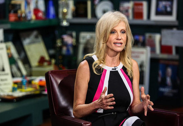 """Kellyanne Conway, president and chief executive officer of Polling Co. Inc./Woman Trend, speaks during an interview on """"With All Due Respect"""" in New York, U.S., on Tuesday, July 5, 2016. Asked how Trump reassures conservatives about his positions on issues such as abortion without losing ground with voters in the center, Republican pollster Conway, one of Trump's new senior strategists, said he would work to shift the spotlight to Clinton. Photographer: Chris Goodney/Bloomberg via Getty Images"""