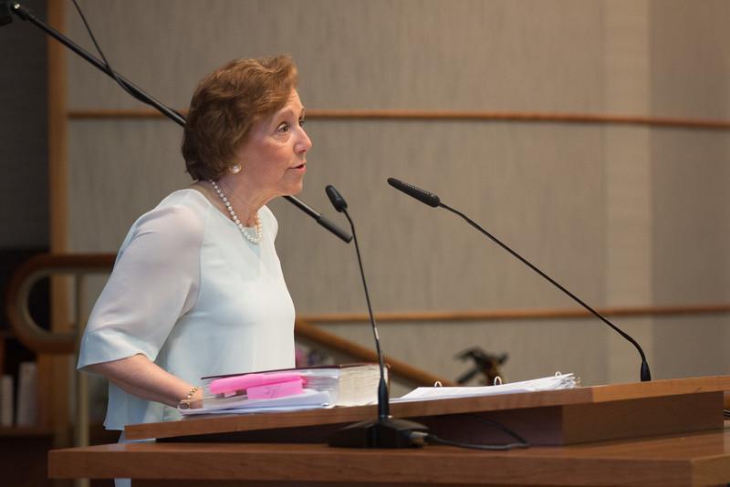 "Marsha Rehns speaks on ""Rabbi Rudolph's Legacy - Torah"" -- Tour de Rudolph -- Retirement tribute for Rabbi Bill Rudolph, Congregation Beth El, Bethesda, MD, May 17, 2015"