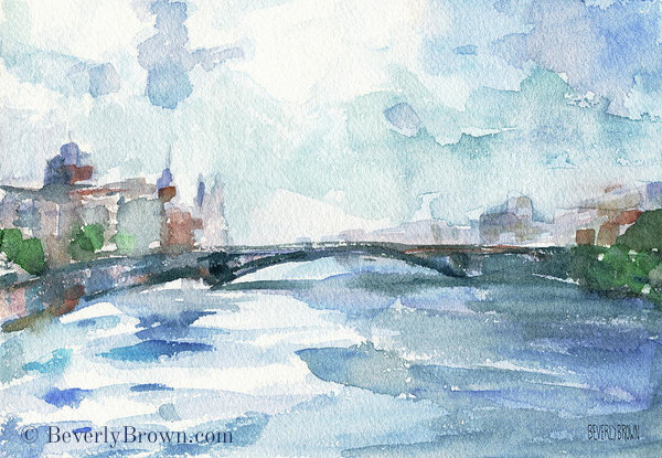 Paris Seine Shades of Blue - Impressionist Paris wall art watercolor print by Beverly Brown. For sale at www.beverlybrown.com