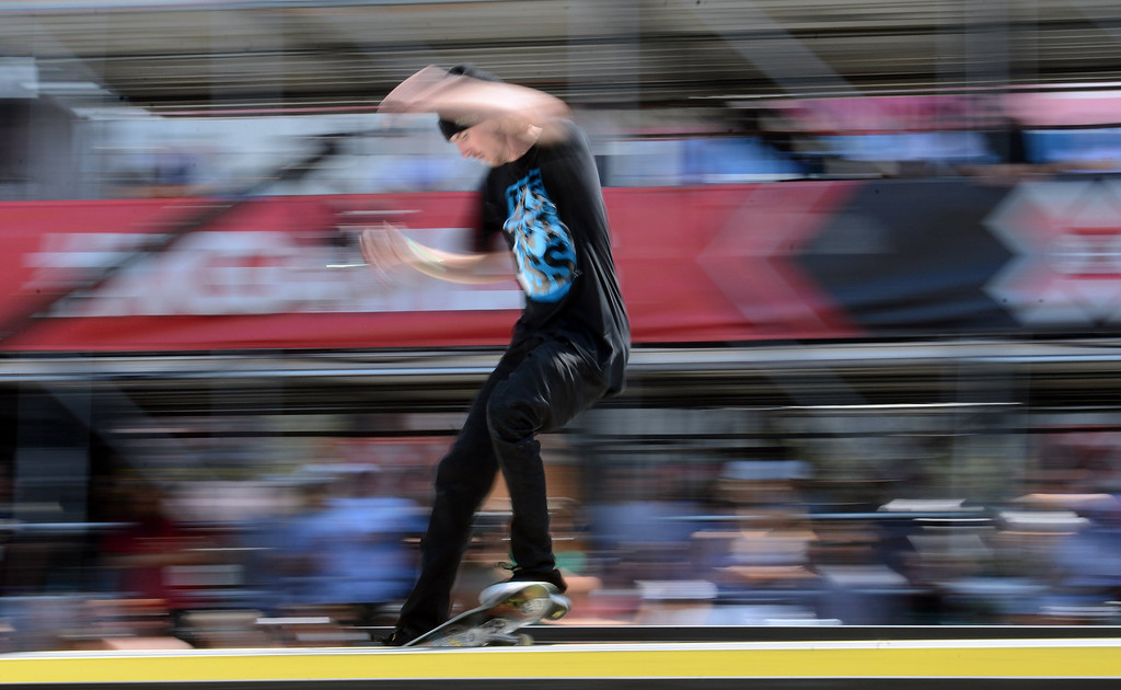 . Greg Lutzka competes during the  X Games Los Angeles SLS Select Series event at LA Live Thursday, August 1, 2013. (Hans Gutknecht/Los Angeles Daily News)