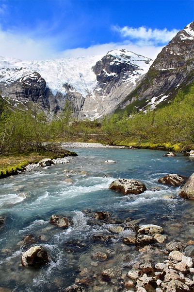 Jostedola River, it's coming from the Bergsetbreen extension that you can see coming down the mountain, Jostedalsbreen National Park. Norway