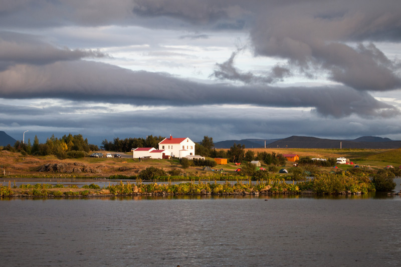 Evening view of a farmhouse and campground on Lake Myvatn, near our hotel.