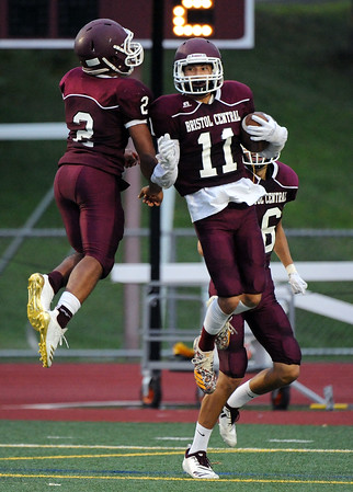 9/7/2018 Mike Orazzi | Staff Bristol Central's Darrell Payton (2) and Jose Navedo (11) during Friday night's football game with Hartford Public at Bristol Central High School.