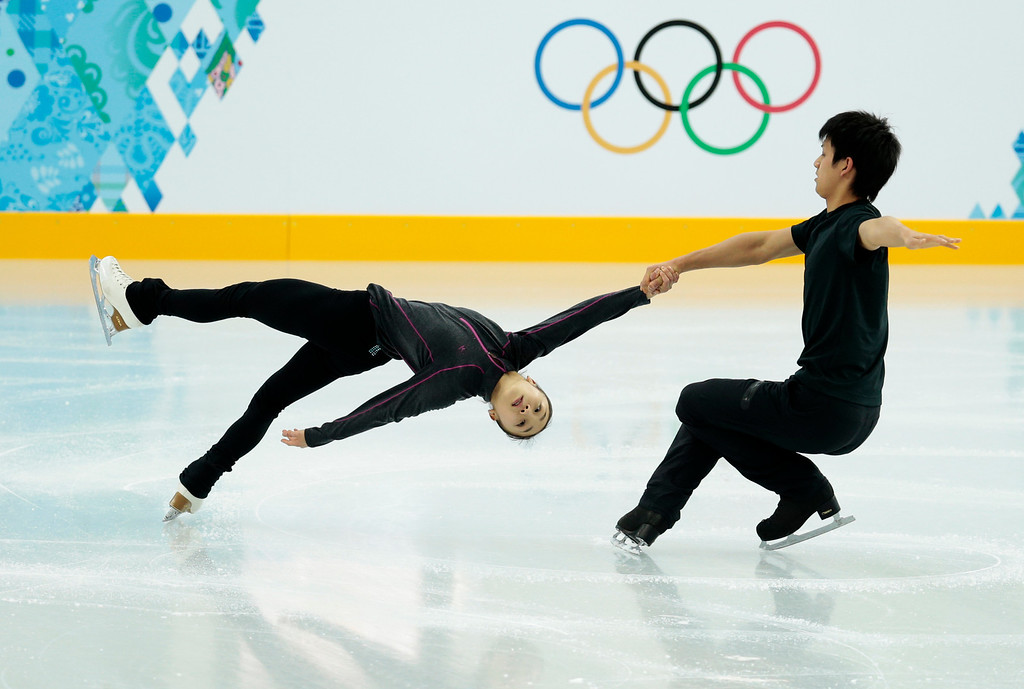 . Narumi Takahashi and Ryuichi Kihara of Japan practice at the figure skating practice rink ahead of the 2014 Winter Olympics, Tuesday, Feb. 4, 2014, in Sochi, Russia. (AP Photo/Ivan Sekretarev)