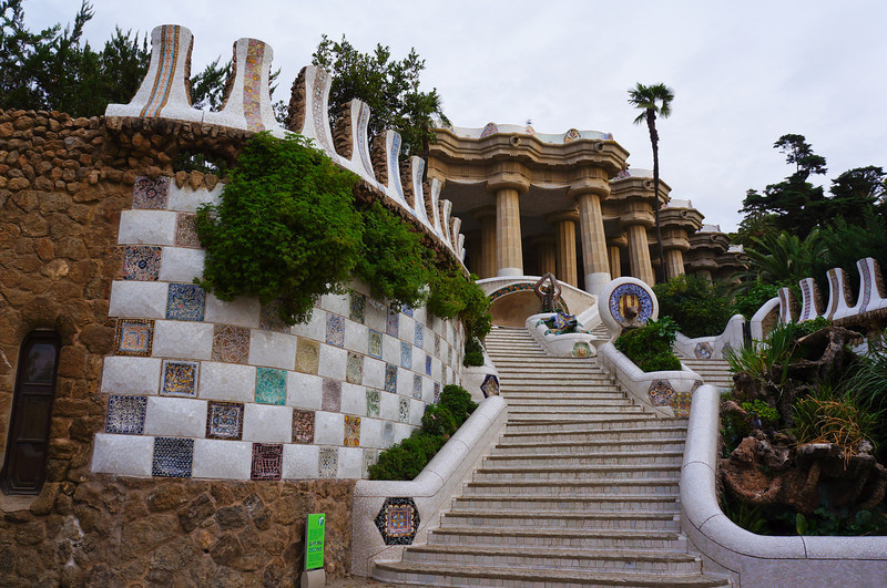 At the entrance of Parc Guell, a view of the stairs leading to the interior.