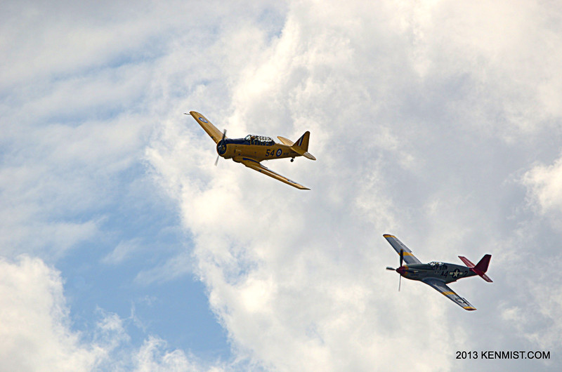 Red Tail Squadron P-51C Mustang and Canadian Harvard Aircraft Association Harvard