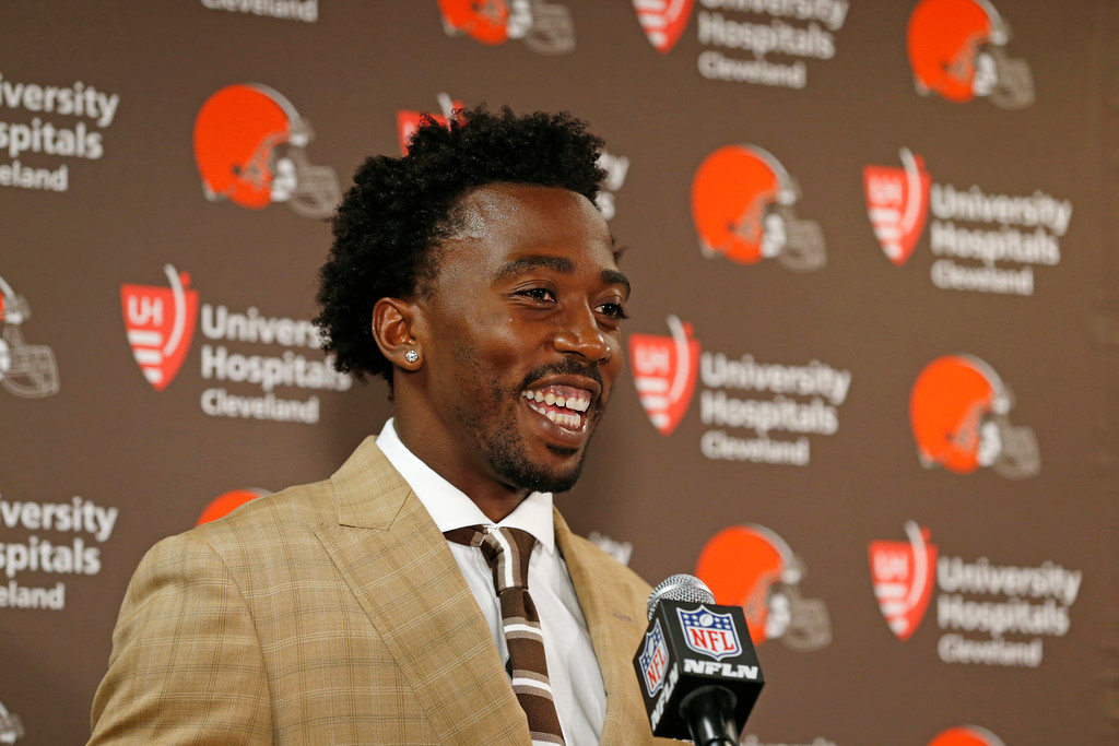 . Cleveland Browns quarterback Tyrod Taylor speaks during a news conference after a preseason NFL football game Thursday, Aug. 9, 2018, in East Rutherford, N.J. The Browns won 20-10. (AP Photo/Adam Hunger)