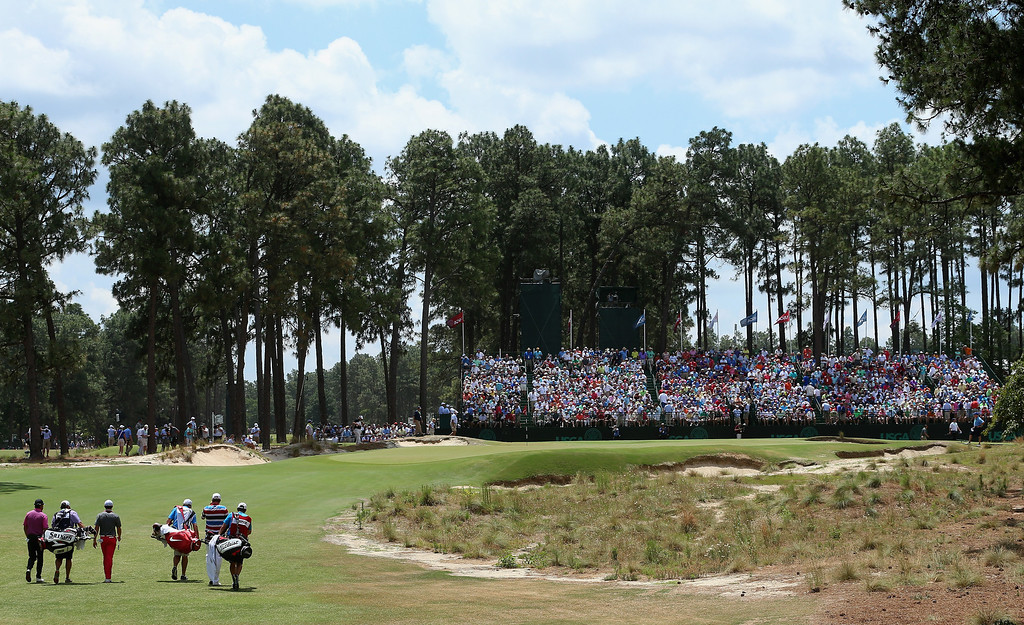 . Webb Simpson of the United States, Rory McIlroy of Northern Ireland and Graeme McDowell of Northern Ireland walk to the 17th green with their caddies during the first round of the 114th U.S. Open at Pinehurst Resort & Country Club, Course No. 2 on June 12, 2014 in Pinehurst, North Carolina.  (Photo by Andrew Redington/Getty Images)