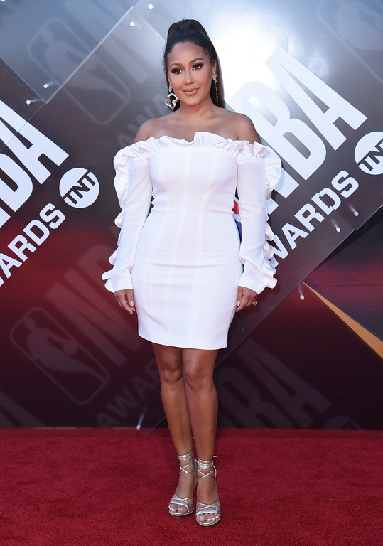 . Adrienne Houghton arrives at the NBA Awards on Monday, June 25, 2018, at the Barker Hangar in Santa Monica, Calif. (Photo by Richard Shotwell/Invision/AP)