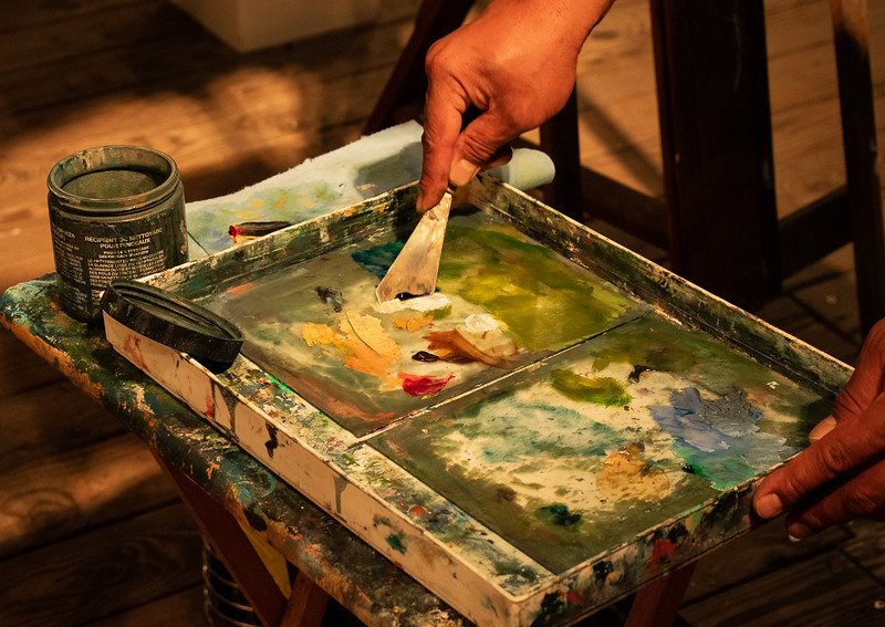 His father-in-law, Robert Thomas, inspired him to paint. Ernest even tried painting with other mediums. He tried painting with acrylic paints for a while, and got good at it, but went back to using oils, which is what he currently uses to create his art.
