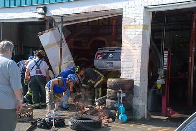 Bethpage F.D. MVA Car into Building...Hempstead Tpke. and Hicksville Rd. 8/14/09