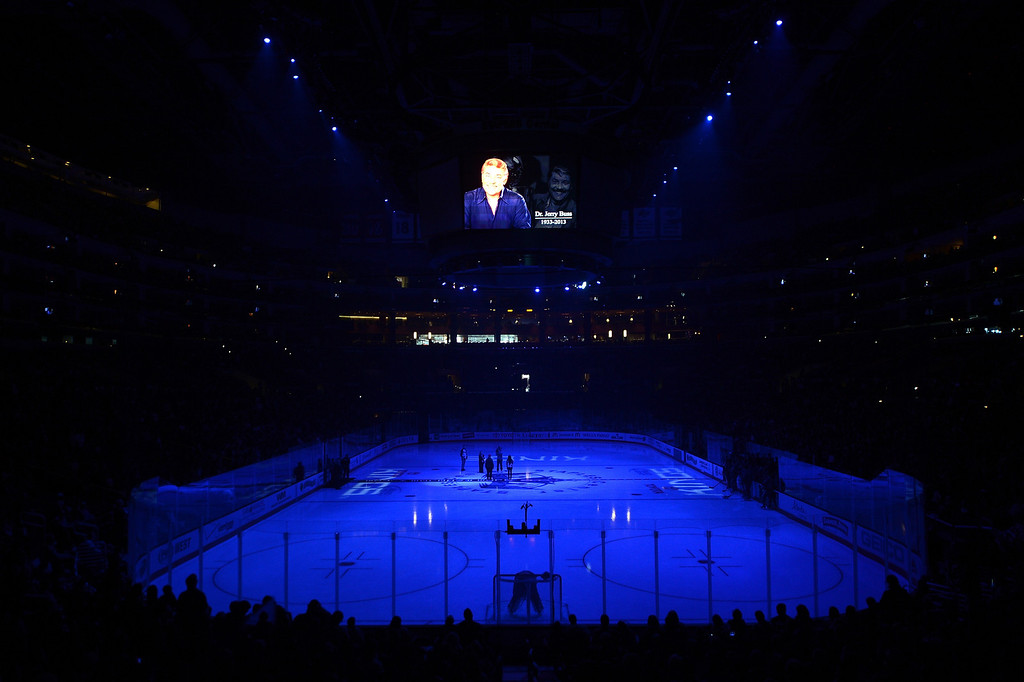 . LOS ANGELES, CA - FEBRUARY 23:  A moment of silence for Dr. Jerry Buss before the game between the Colorado Avalanche and the Los Angeles Kings at Staples Center on February 23, 2013 in Los Angeles, California.  (Photo by Harry How/Getty Images)
