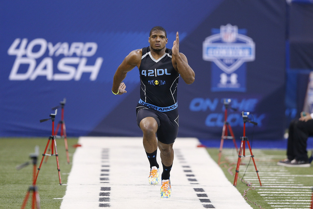 . Former Missouri defensive lineman Michael Sam runs the 40-yard dash during the 2014 NFL Combine at Lucas Oil Stadium on February 24, 2014 in Indianapolis, Indiana. (Photo by Joe Robbins/Getty Images)